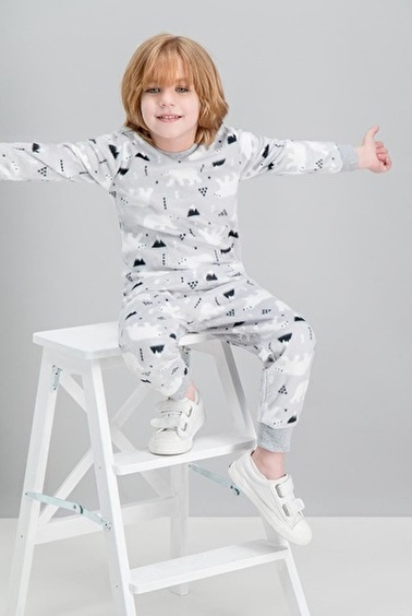 Roly Poly Rolypoly White Bear Gri Erkek Çocuk Polar Pijama Takımı Gri
